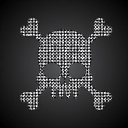 spangle: Silhouette of a skull and crossbones of silver sequins against a dark background.