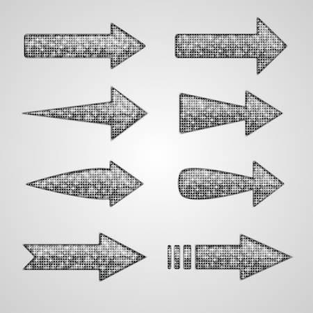 pallette: Vector argent flèches avec des éléments de paillettes. Direction.