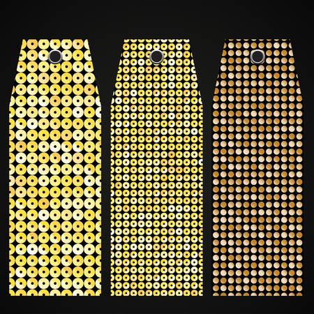 paillette: Price tag, tag with gold sequins. Sparkle glitter. Glittering sequins wall.