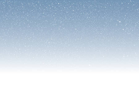 Vector white snow falling on blue background.