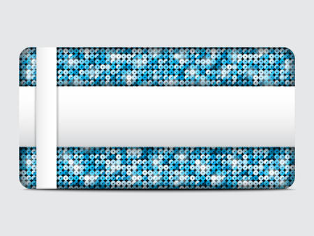 spangle: Vector gift card with abstract mosaic blue sequins background.