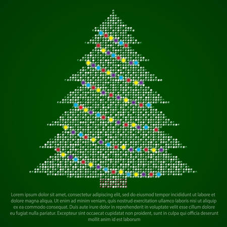 paillette: Christmas tree made of multicolored price on different backgrounds.