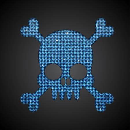 sequin: Silhouette of a skull and crossbones of the shop on a dark background.