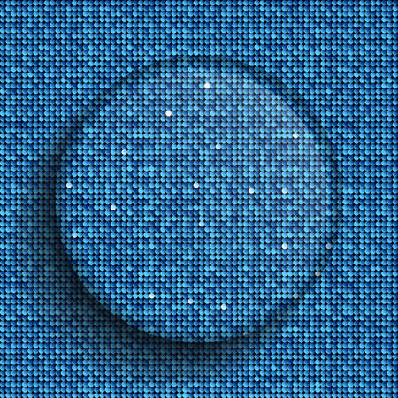 spangle: Vector glass circle button on shiny blue paillettes background . Sparkle glitter background. Glittering sequins wall. Illustration