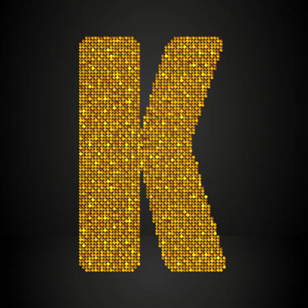 sequin: Letters, numbers and symbols in the form of gold sequins.