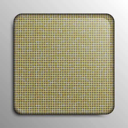 paillette: Vector. Gold sequin square button on sequin background.