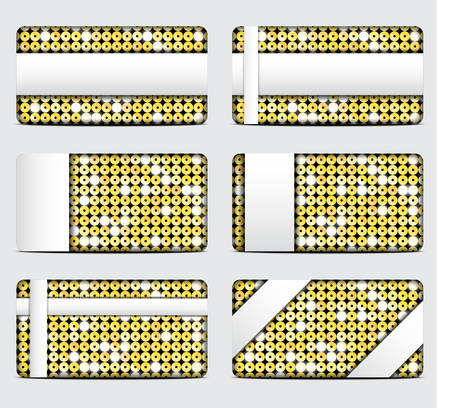 spangle: Vector gift cards with abstract mosaic gold sequins background. Illustration