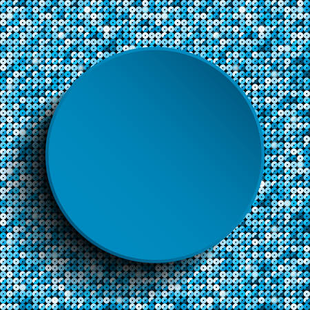 blue circle: Vector blue circle with blue sequins background.