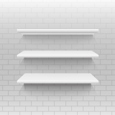 empty shelf: Vector abstract background. Empty shelf on a wall. Illustration