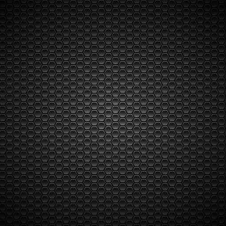 steel grille: Black and gray carbon background with hexagons. Vector Illustration