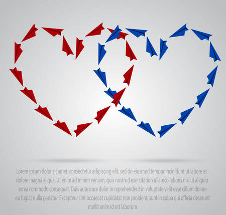 Multicolored heart of colored paper planes on a colorful background. Illustration