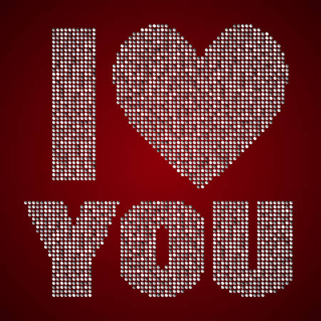 sequins: The inscription - I love you - on the background with sequins or inscription with sequins.