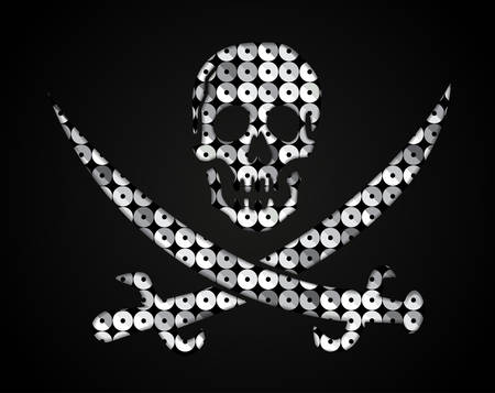 Silhouette of a skull and crossbones of silver sequins against a dark background.
