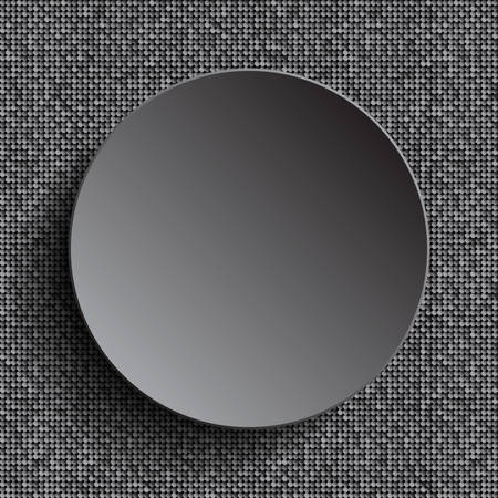 silver circle: Vector silver circle button on shiny silver sequins background. Sparkle glitter background. Glittering sequins wall.