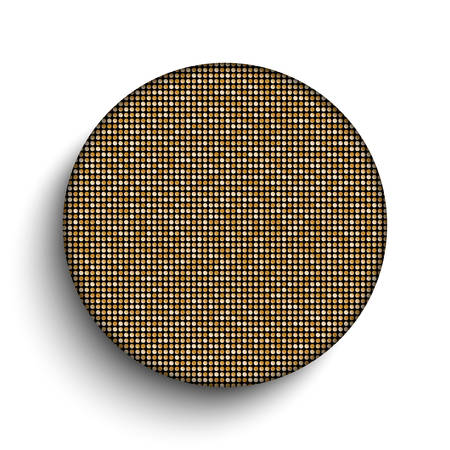 spangle: Vector. Gold paillette circle button on white background. Illustration