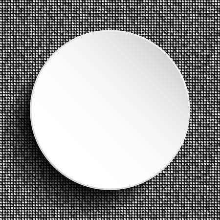 sheen: Vector white circle button on shiny silver sequins background. Sparkle glitter background. Glittering sequins wall.