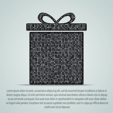 paillette: Silhouette of a box with a gift of silver sequins. Illustration
