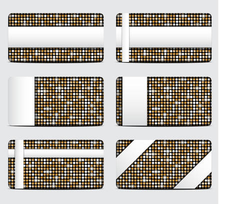 pallette: Vector gift cards with abstract mosaic gold sequins background. Illustration