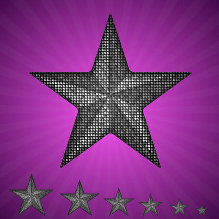 spangle: Vector silver star with elements of sequins, pallets and sparkles on a purple background.
