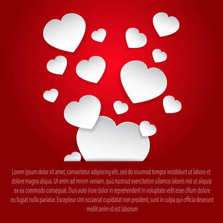paper heart: White paper hearts on a red background card.