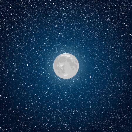 Wektor realistyczne tła. Starry nocne niebo Stars Moon. Ilustracje wektorowe