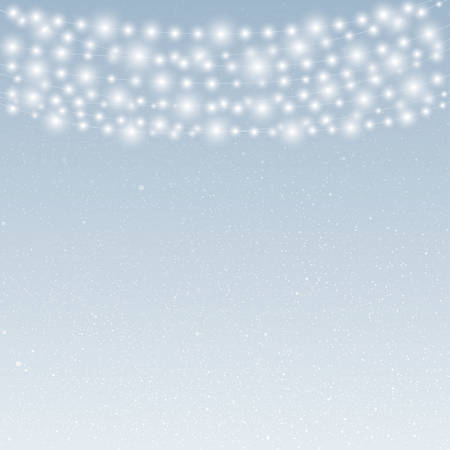 snowcovered: Falling snow vector. White splash on blue background. Winter snowfall hand drawn spray texture. Garland on the background of snow-covered sky.
