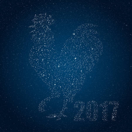 star sky: Vector illustration of a rooster in the star style. Silhouette on a night starry sky background rooster - a symbol of 2017 by the Chinese calendar. Design element Christmas cards, booklets, calendars