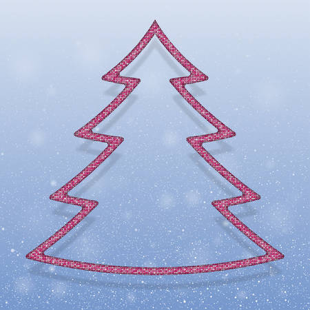 sequins: Falling snow vector. Winter snowfall hand drawn spray texture. Pink sequins in the form christmas tree. Mosaic, sequins, glitter, sparkle, stars. Christmas tree. Happy New Year and Merry Christmas. Illustration