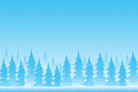 Silhouettes of trees on a snowy blue background. Eps 10. Illustration