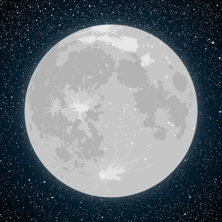 crater: Vector realistic background Starry night sky Stars. Vector Moon. Crater. Illustration