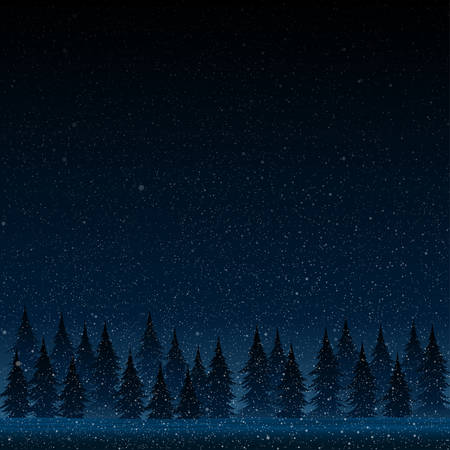 snow storm: Falling snow vector. White splash on blue background. Winter snowfall hand drawn spray texture. Forest during a snow storm at night. Christmas tree.