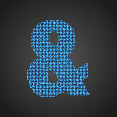Letters, numbers and symbols in the form of blue sequins. Illustration