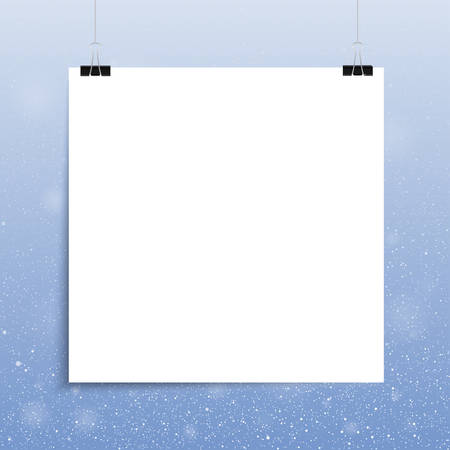square sheet: Falling snow vector. White splash on blue background. Winter snowfall hand drawn spray texture. Square. White sheet.