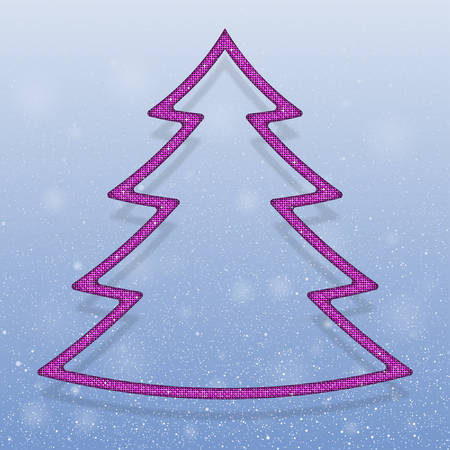 sheen: Falling snow vector. Winter snowfall hand drawn spray texture. Pink sequins in the form christmas tree. Mosaic, sequins, glitter, sparkle, stars. Christmas tree. Happy New Year and Merry Christmas. Illustration