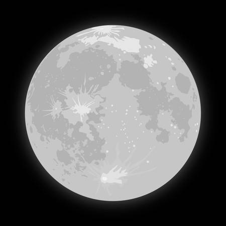 moon crater: Vector realistic background Starry night sky Stars. Vector Moon. Crater. Illustration