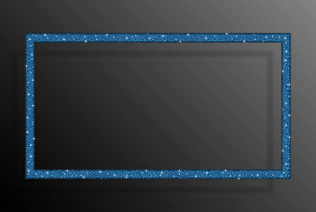 spangle: Frame made of blue sequins in the form rectangle. Mosaic sequins glitter sparkle stars.