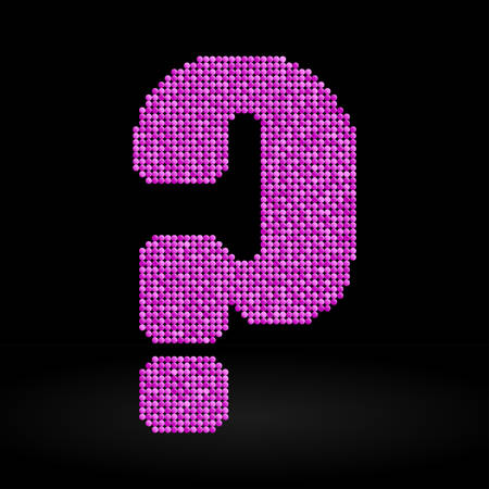 sheen: Letters, numbers and symbols in the form of pink sequins. Illustration