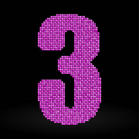 sequins: Letters, numbers and symbols in the form of pink sequins. Illustration