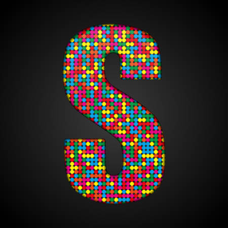 Letters, numbers and symbols in the form of colorful sequins. Illustration