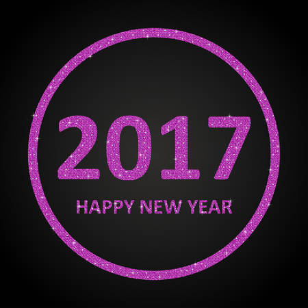 sheen: Happy New Year background for your card. Sparkle glitter background. Glittering Pink sequins frame. Star. Illustration