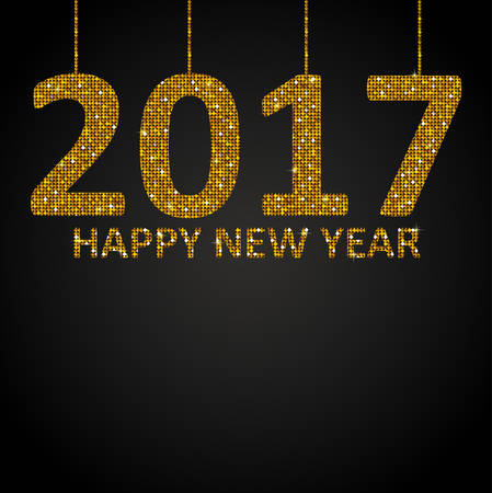 new years background: 2017 Happy New Year background for your card. Sparkle glitter background. Glittering Gold sequins frame.