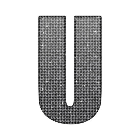 paillette: Letters, numbers and symbols in the form of silver sequins. Illustration