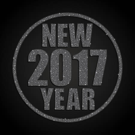 sheen: Happy New Year background for your card. Sparkle glitter background. Glittering Silver sequins frame. Star.