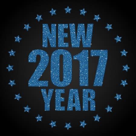 sheen: Happy New Year background for your card. Sparkle glitter background. Glittering Blue sequins frame. Star.