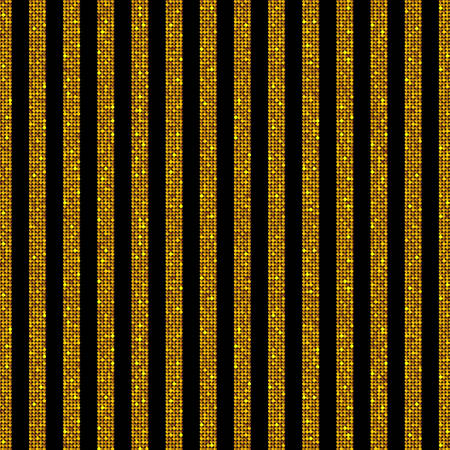 sheen: The parallel Vertical lines on the black background. Background made of Gold sequins. Mosaic sequins glitter sparkle stars. Parallel.