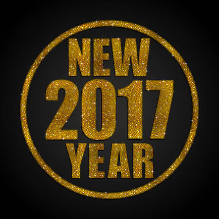 sheen: Happy New Year background for your card. Sparkle glitter background. Glittering Gold golden sequins frame. Star.