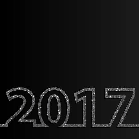 sheen: 2017 Happy New Year background for your card. Sparkle glitter background. Glittering Silver sequins frame.