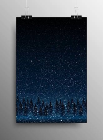 snow storm: Vertical Poster Banner A4 Sized Vector Hanging With Paper Clips. Falling Snow Vector. White Splash on Grey Background. Winter Snowfall. Forest During Snow Storm Night. Christmas Trees.