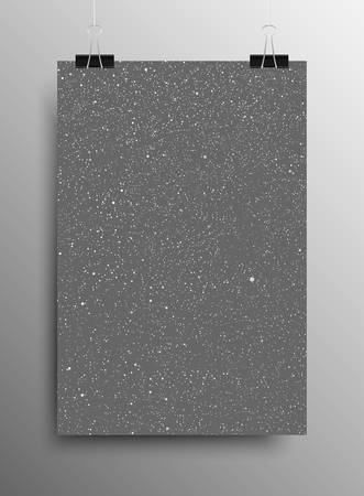 sized: Vertical Poster Banner A4 Sized Vector Hanging With Paper Clips. White Snow Falling Grey Background. Falling Snow. Winter Holiday. Merry Christmas New Year. Ash, Cinder.