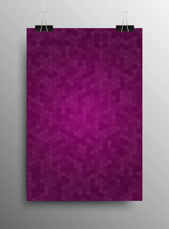 sized: Vertical Poster Banner A4 Sized Vector Hanging With Paper Clips. Mosaic Tile Honeycomb Vector Background. Perspective Halftone Comb Fone. Purple Violet Background. Vector illustration for Web Design. Illustration